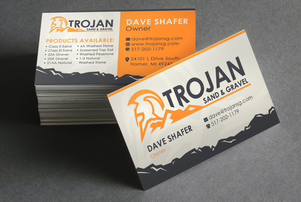 Trojan Sand & Gravel Business Cards | BrickStreet Marketing